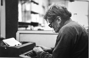 Gregory typing in a rare book room at New York 1989. Photo © by Dario Bellini