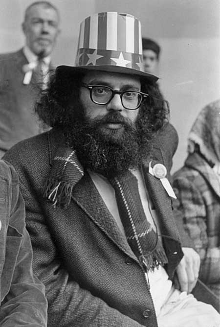[Allen Ginsberg on Central Park Bandstand, 5th Avenue Peace Demonstration to Stop The War in Vietnam. 1966 -Photograph by Fred W McDarrah  c. the Estate of Fred W McDarrah and Getty Images]